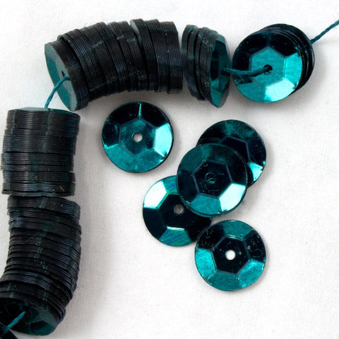 8mm Metallic Teal Cupped Sequin