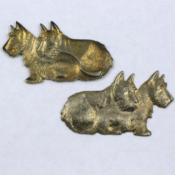 60mm Antique Brass Double Scottie