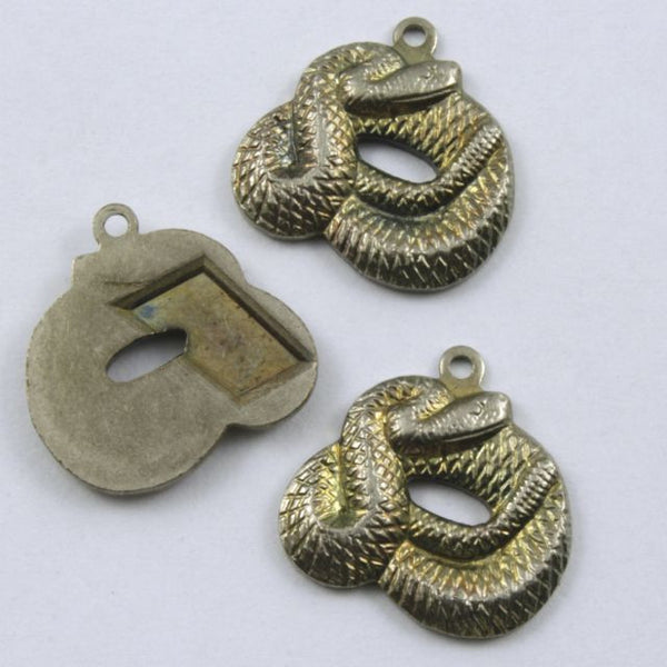 15mm Antique Silver Coiled Snake