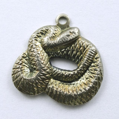15mm Antique Silver Coiled Snake #217