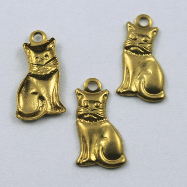 14mm Raw Brass Cat Charm (4 Pcs) #219
