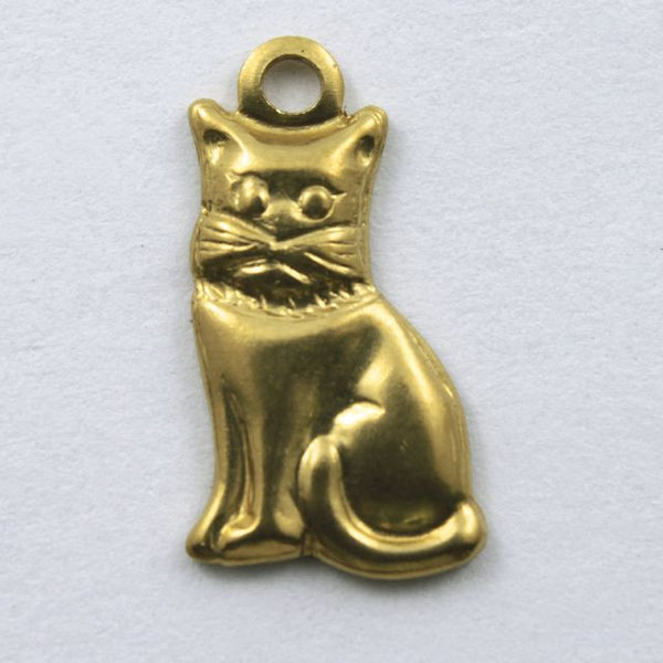 14mm Raw Brass Cat Charm