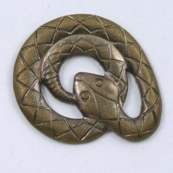 25mm Antique Brass Coiled Cobra