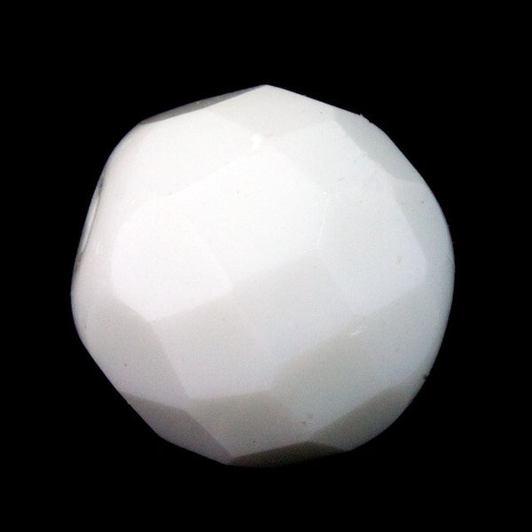 10mm Chalk White Faceted
