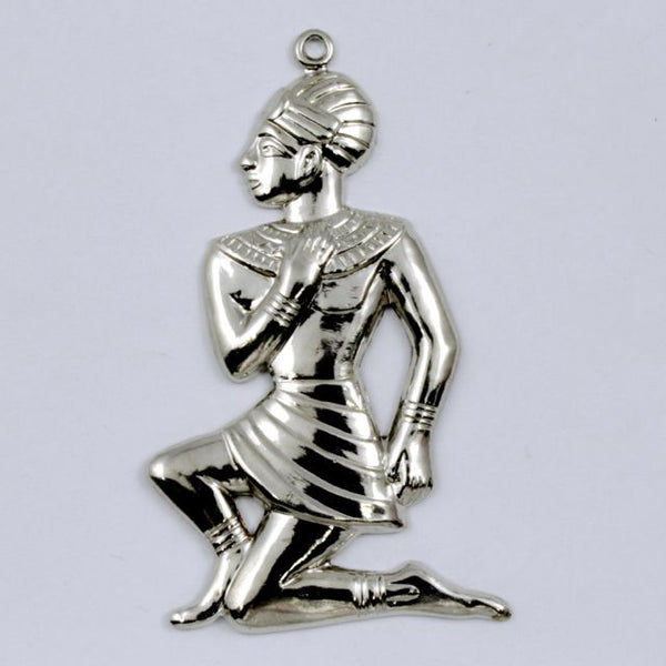 32mm Silver Kneeling Egyptian Figure Charm (2 Pcs) #CHA001