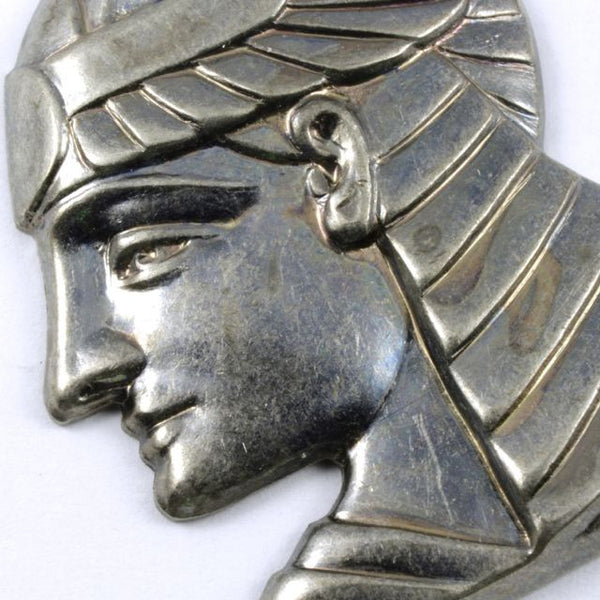 40mm Antique Silver Pharaoh Profile Charm