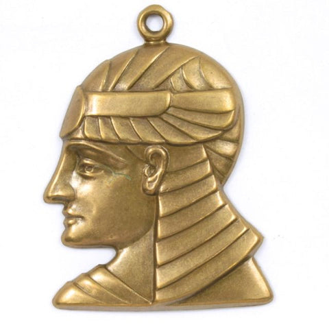 40mm Antique Brass Pharaoh Profile Charm #244-General Bead