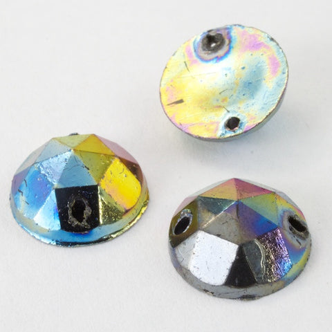 10mm Jet AB Faceted Sew-on Cabochon (10 Pcs) #2506