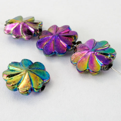 10mm Jet AB Pinwheel Flower (12 Pcs) #2507-General Bead