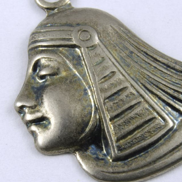 52mm Antique Silver Egyptian Lotus Profile