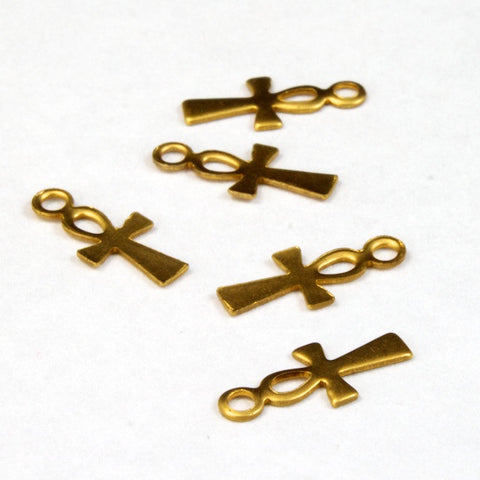 11mm Raw Brass Ankh (12 Pcs) #2604-General Bead