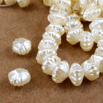 8mm Cream Corrugated Pearl Rondelle-General Bead