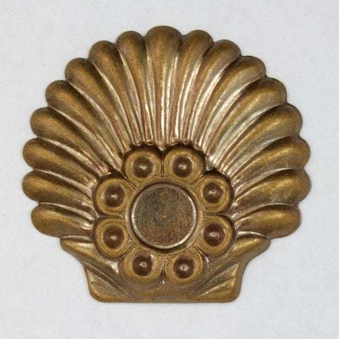 30mm Antique Brass Deco Shell Cabochon Setting