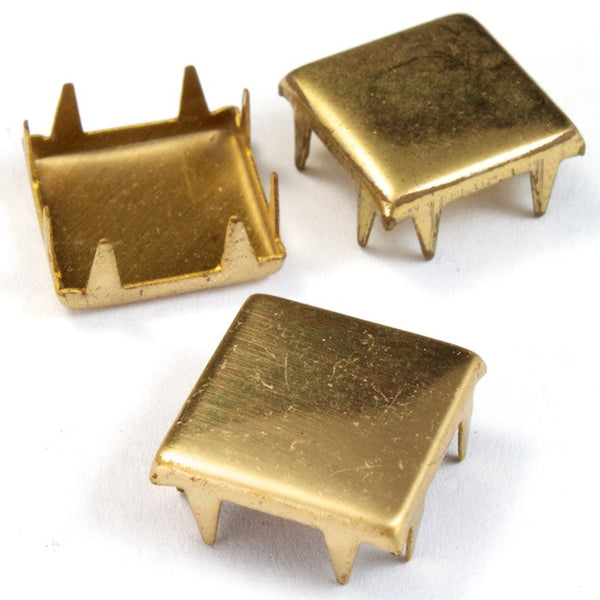 12mm Brass Flat Square Stud