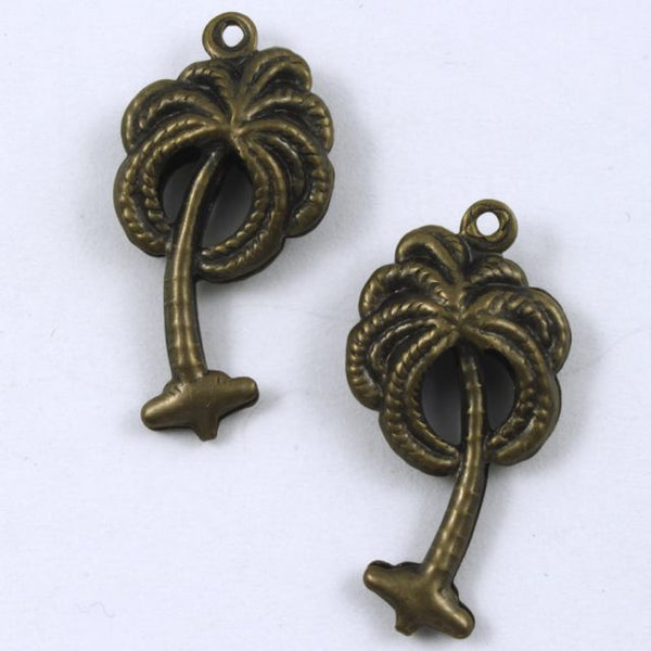15mm Antique Brass Palm Tree