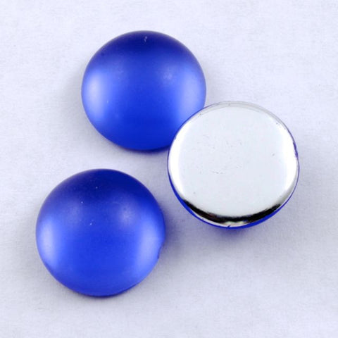 15mm Frosted Cobalt Cabochon (2 Pcs) #281-General Bead
