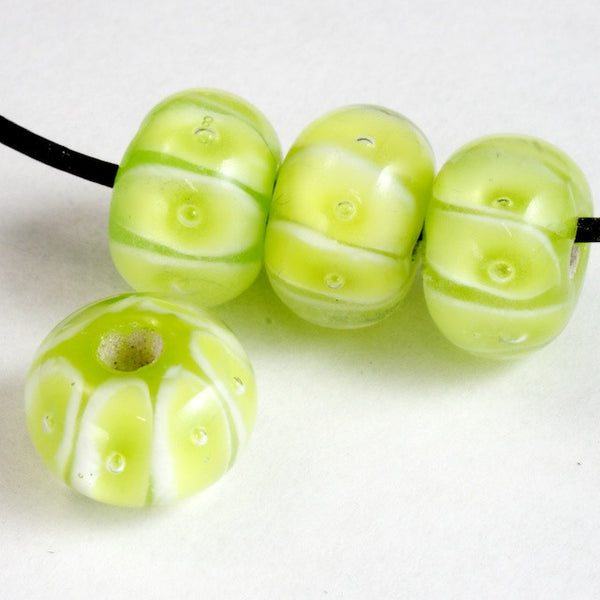 12mm Lime Green/White Bead #2824