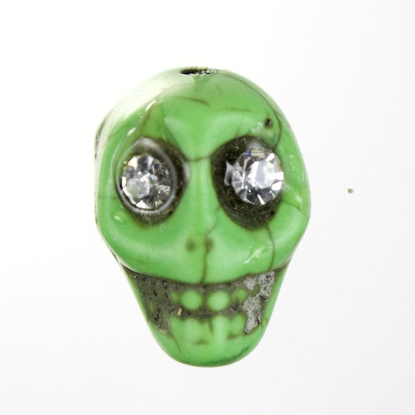 14mm Green Howlite Skull w/ Rhinestone Eyes