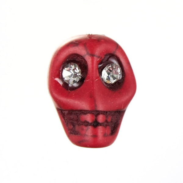 14mm Red Howlite Skull w/ Rhinestone Eyes
