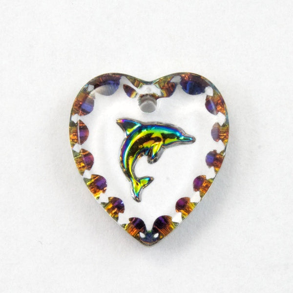 12mm Iridescent Dolphin Heart Pendant #2939