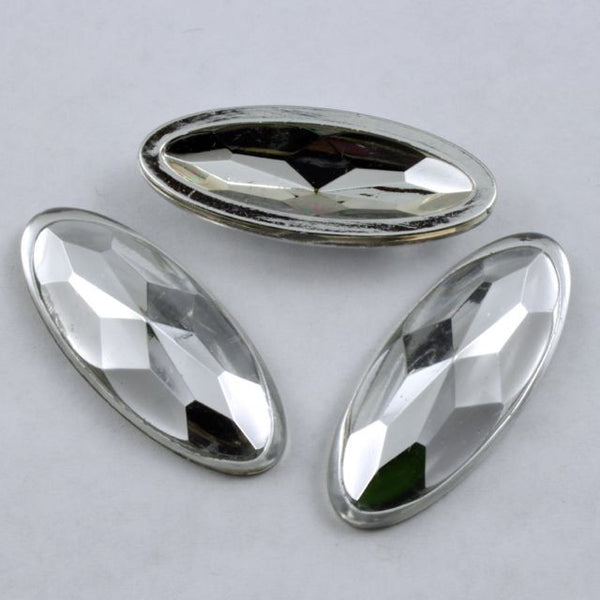 16mm x 40mm Silver Coated Oval