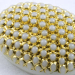 13mm x 18mm Gold on White Oval Cabochon #XS3-K-General Bead