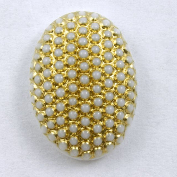 13mm x 18mm Gold on White Oval Cabochon