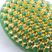 13mm x 18mm Gold on Green Oval Cabochon