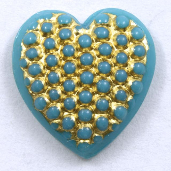 15mm Gold on Turquoise Heart