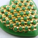 15mm Gold on Green Heart #XS3-C-General Bead