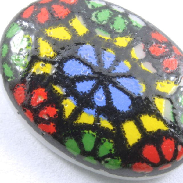 10mm x 14mm Multi Color Mosaic Oval Cabochon