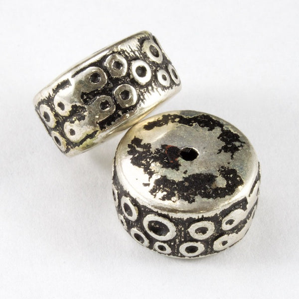 14mm Antique Silver Drum Bead (2 Pcs) #3135