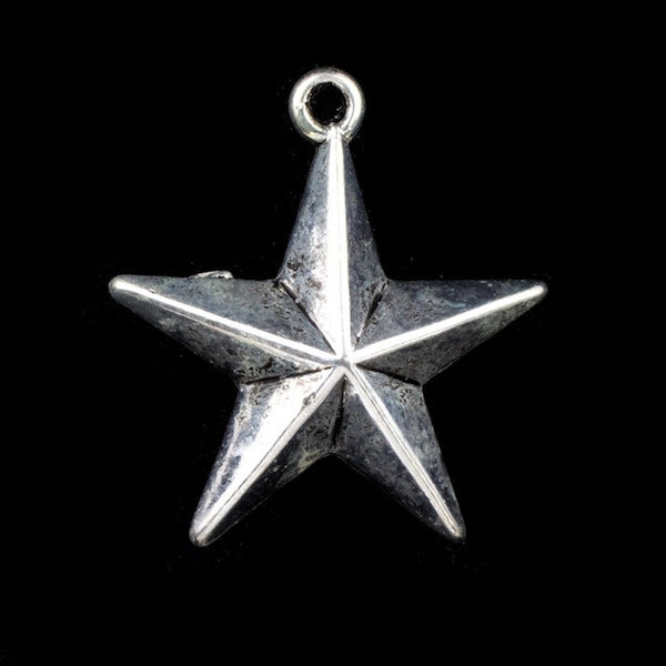 22mm Antique Silver Star (2 Pcs) #3136