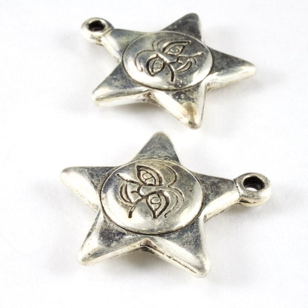 26mm Antique Silver Star with Moon Face (2 Pcs) #3137