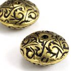 15mm Antique Gold Florentine Saucer-General Bead