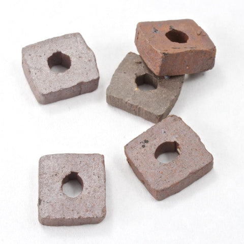 10mm Brown Ceramic Flat Square Bead-General Bead