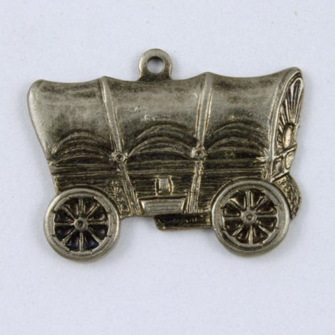20mm Antique Silver Colored Covered Wagon Charm