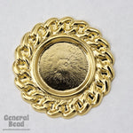35mm Gold Tone Chain Border Cabochon Setting (2 Pcs) #3316-General Bead