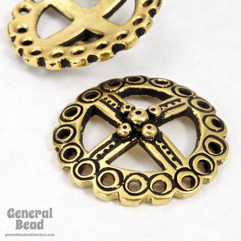 22mm Antique Gold Four Directions Symbol