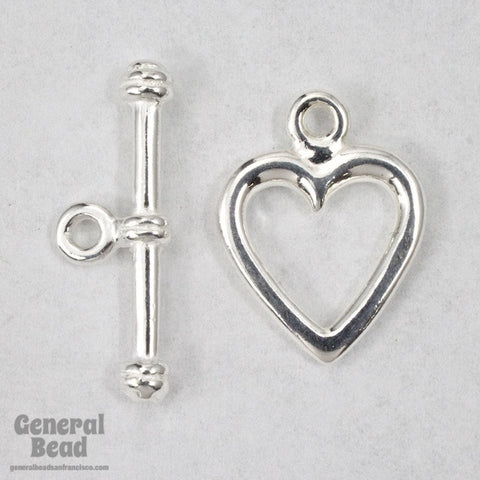 15mm Sterling Silver Heart Toggle Clasp