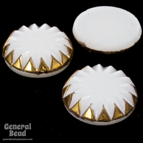 18mm White and Gold Sawtooth Vintage Cabochon #3341-General Bead