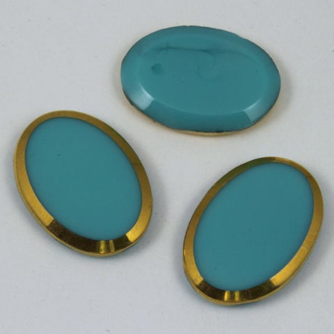 18mm x 25mm Oval Turquoise with Gold Edge #XS6-H-General Bead