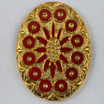 30mm x 40mm Opaque Cherry Red and Gold Intaglio #XS6-J-General Bead