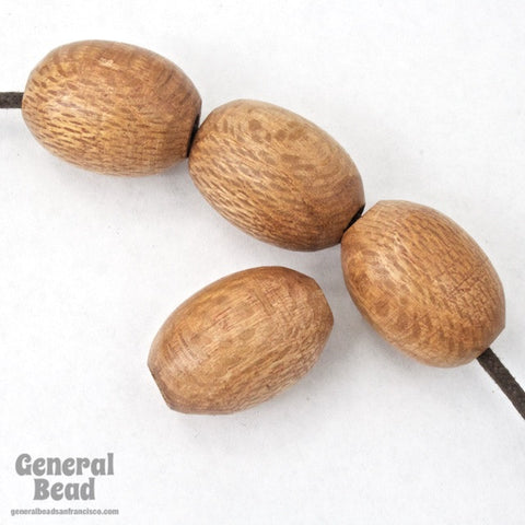 25mm Light Brown Wood Oval Bead-General Bead
