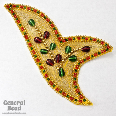 150mm Gold, Red and Green Embroidered Applique