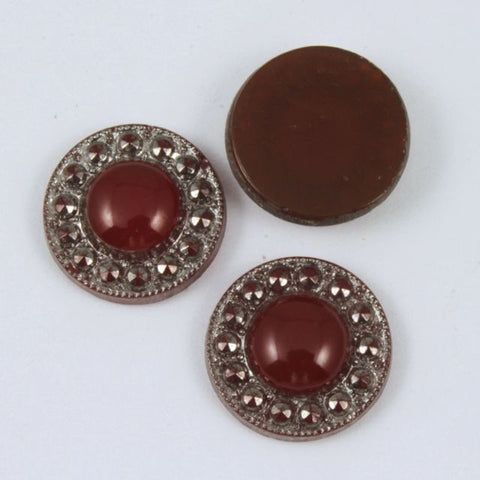 12mm Round Silver Edged Deep Red Cabochon #XS9-C-General Bead
