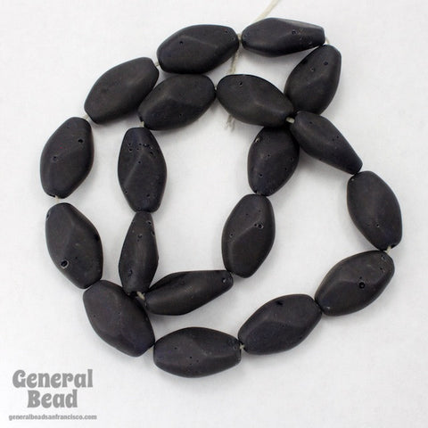 20mm Matte Black Oval Bead #3424-General Bead