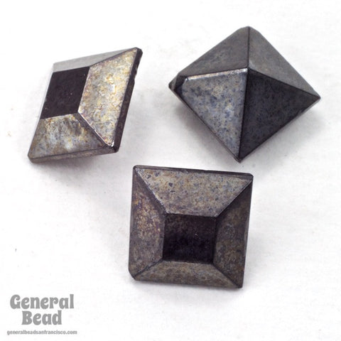 8mm Hematite Faceted Square Point Back Cabochon (4 Pcs) #3501-General Bead
