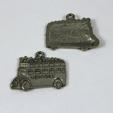 19mm Cast Pewter NYC Double Decker Bus-General Bead
