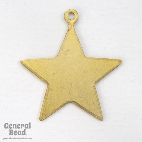 20mm Raw Brass Flat Star Charm (8 Pcs) #3523-General Bead